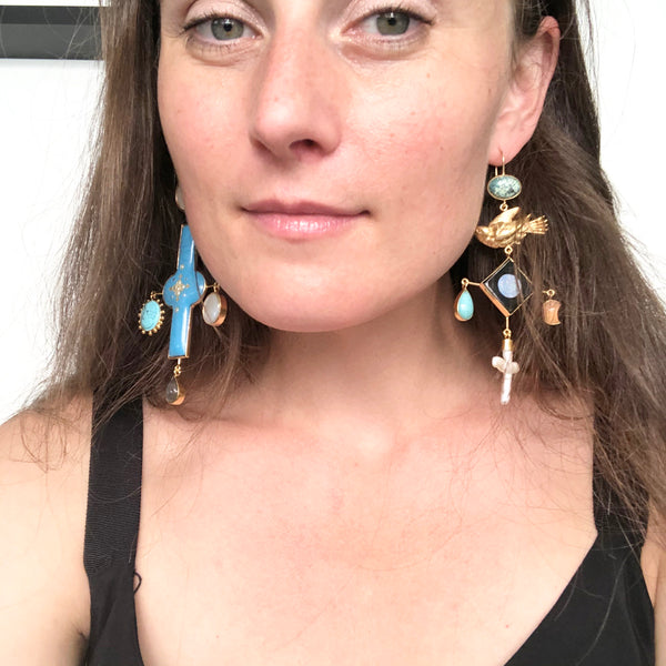 Blue Antique Enamel & Bird Earrings