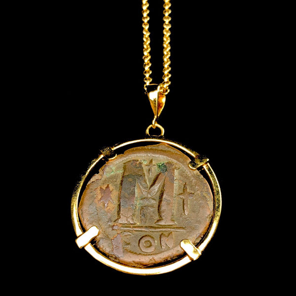 Large Gold Byzantine Cage Coin Necklace