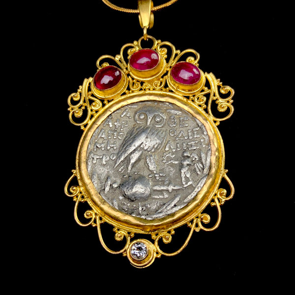 Head of Athena Ruby Pendant