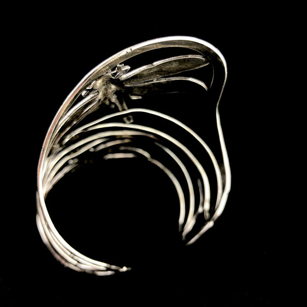 Silver Double Dragonfly Swirl Cuff
