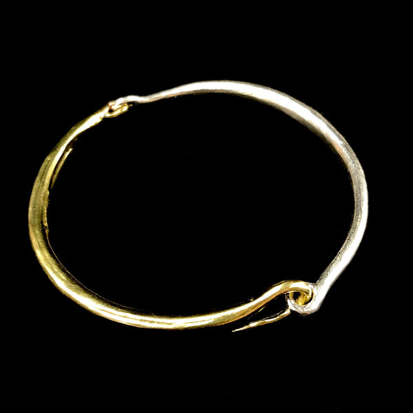 Hinged Brass & Silver Bangle