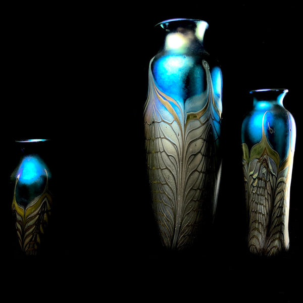 Cathedral Feather Lustreware Vases