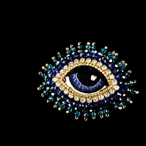Small Blue Eye Brooch