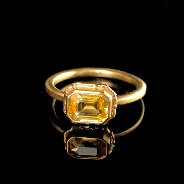 Solid Gold Faceted Sapphire Ring