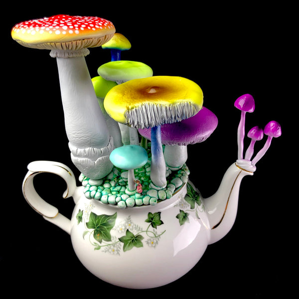 Michael Campbell psychedelic mushroom art combining miniatures and antiqur china teacups