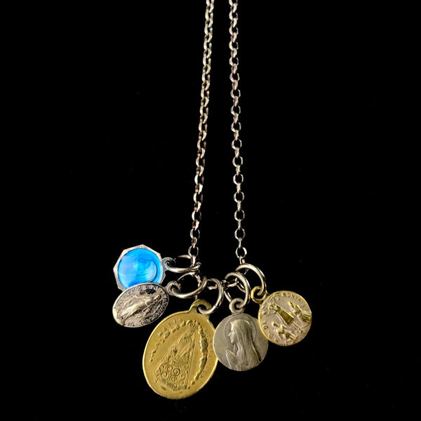 Vintage Enamel and Metal Medal Necklace B