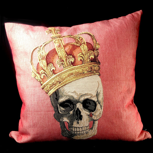 Pink Crowned Skull Pillow