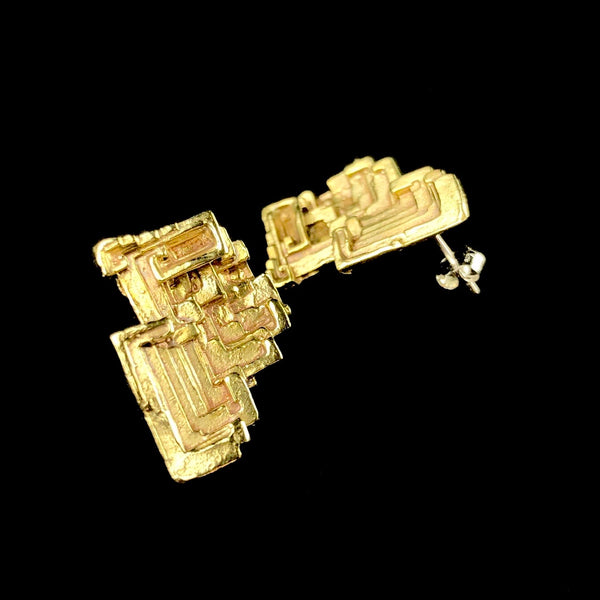 Brass Bismuth Stud Earrings