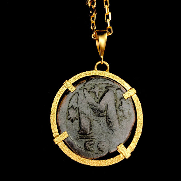 Large Gold Byzantine Coin Necklace