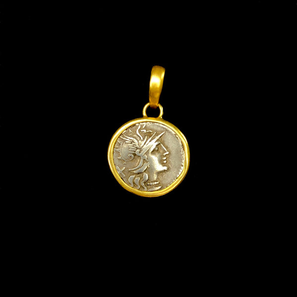 Helmeted Roma Coin Pendant