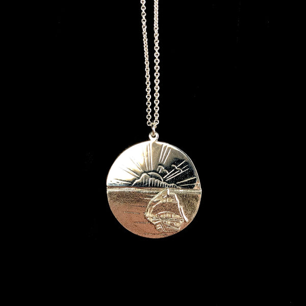 Silver Sail into The Sunset Necklace