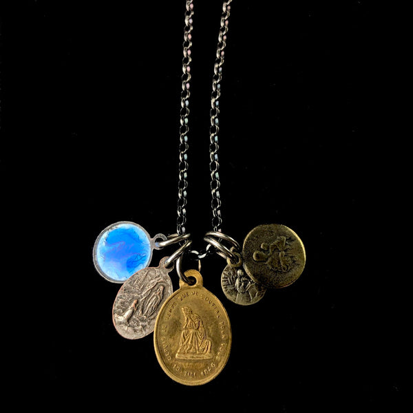 Vintage Enamel and Metal Medal Necklace C