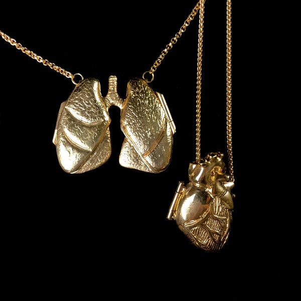 Golden Lung Locket with Ruby