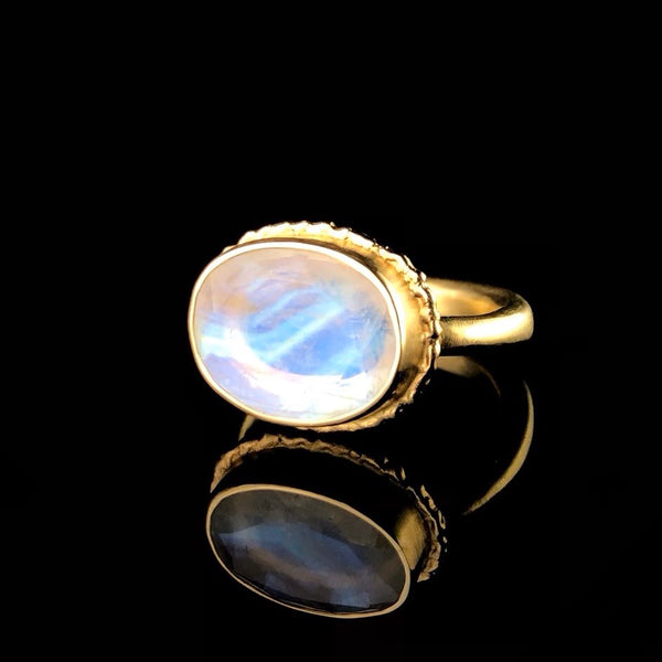 Faceted Gold Moonstone Ring