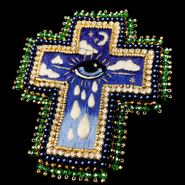 Crying Eye Cross Brooch