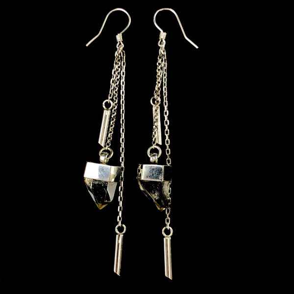Quartz Crystal Chain Earrings