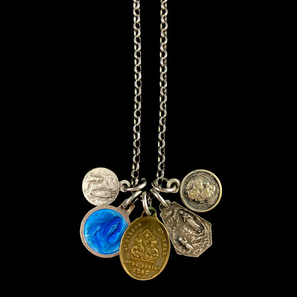 Vintage Enamel and Metal Medal Necklace L