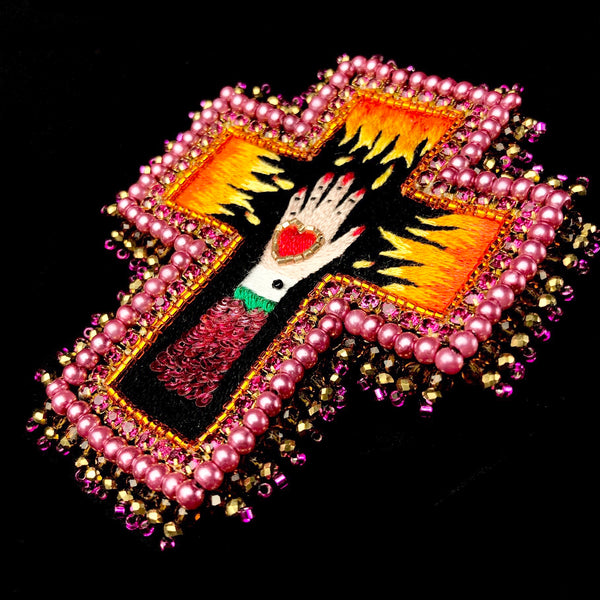 Flaming Hand Cross Brooch