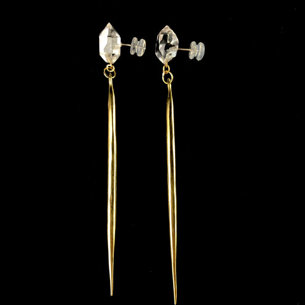Herkimer Quartz Quill Earrings