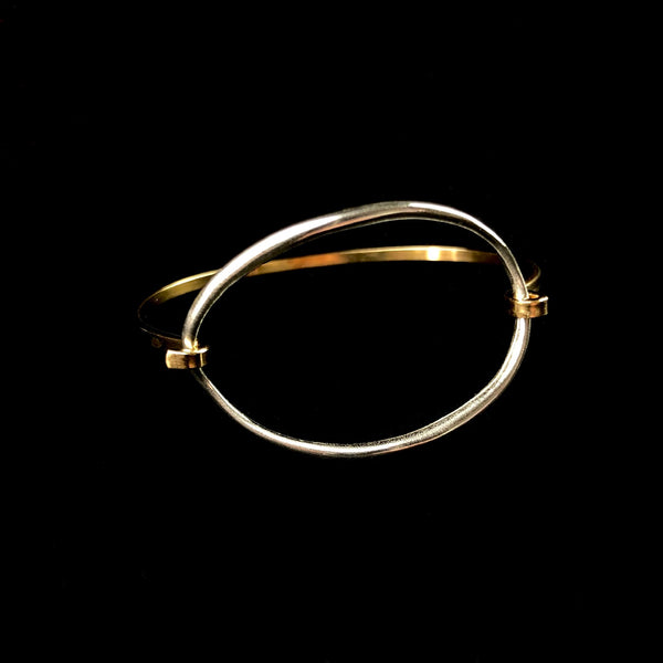 Silver & Brass Ellipse Tension Cuff