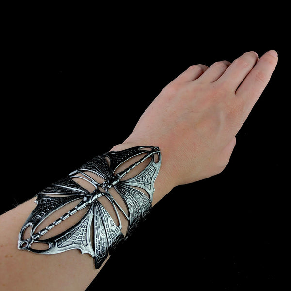 Silver Double Nouveau Dragonfly Cuff