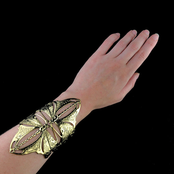 Gold Double Nouveau Dragonfly Cuff
