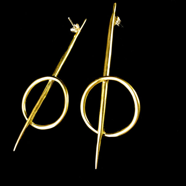 Long Brass Rising Earrings
