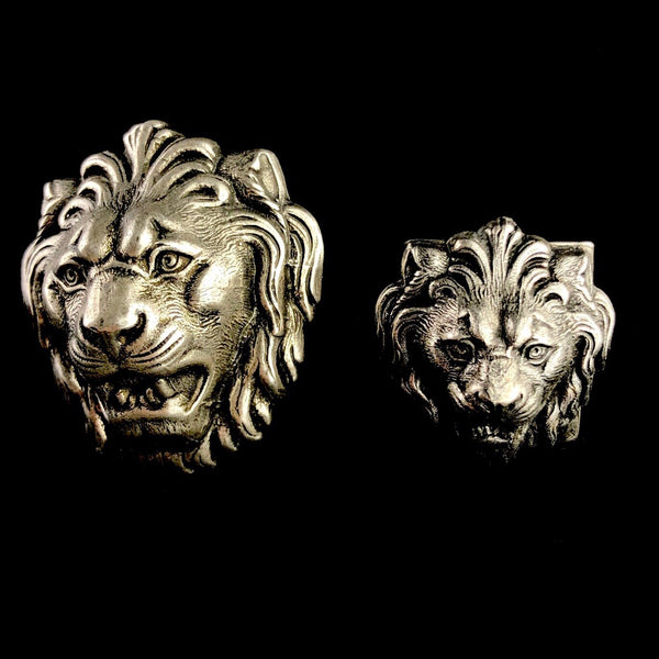 Silver Lion's Head Ring
