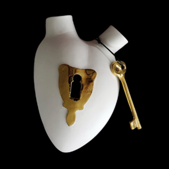 Lock and Key Anatomical Heart Vase