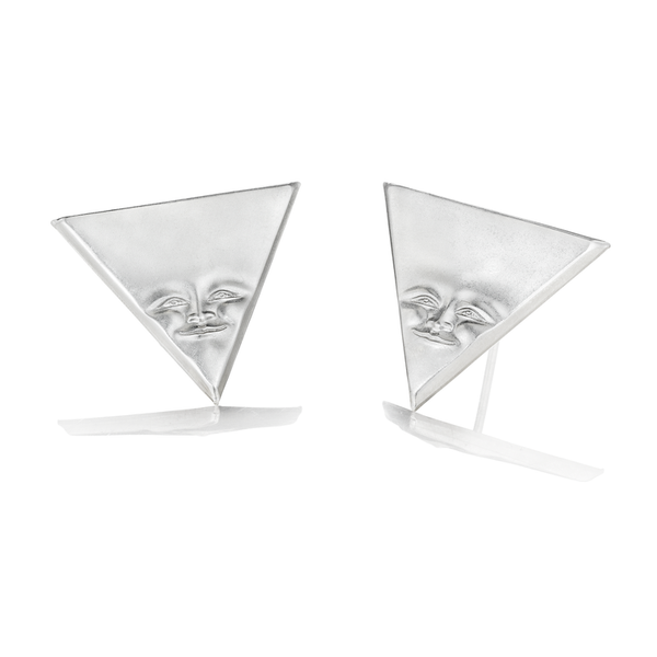Large Silver Triangleface Earrings