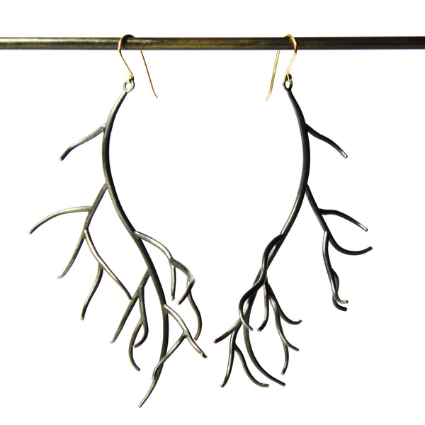 Hannah Blount fine jewelry hand made in boston sterling silver branch earrings