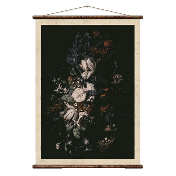 Wall art reproduction of flower arrangement dutch still life painting scientific chart can be hung in kitchen bathroom or well lit room