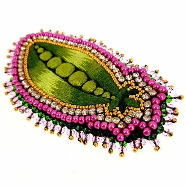 Celeste Mogador handmade crystal beaded brooches of silk thread by Paris based company Au Ver a Soie