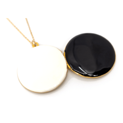 Round Black Locket