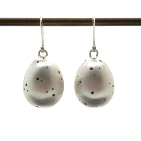 Hannah Blount fine jewelry hand made in boston sterling silver speckled egg earrings