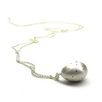 Hannah Blount fine jewelry hand made in boston sterling silver speckled egg necklace