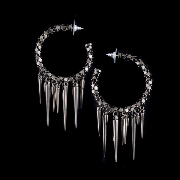 Michael Schmidt Metal Mesh Chrome Hoops with Spikes