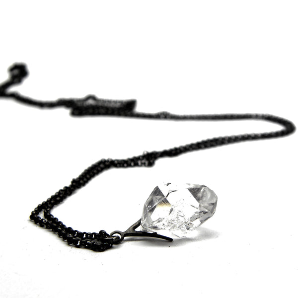 Hannah Blount fine jewelry hand made in boston sterling silver herkimer quartz diamond necklace