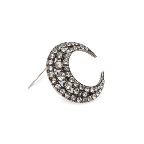 Sasha Samuel crystal moon brooch made in Brooklyn