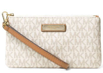 MK Jet Set Signature Medium Wristlet Vanilla