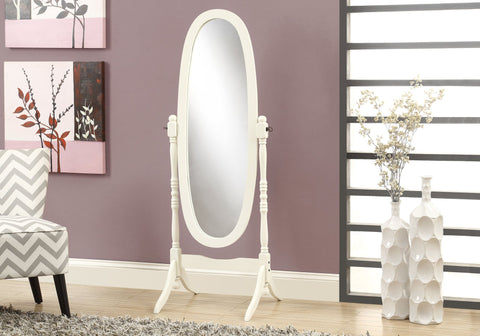 "Monarch Mirror - 59""H - Antique White Oval Wood Frame"