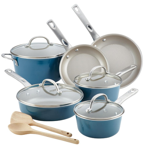 Ayesha Curry Home Collection 12pc Aluminum Cookware Set Twilight Teal