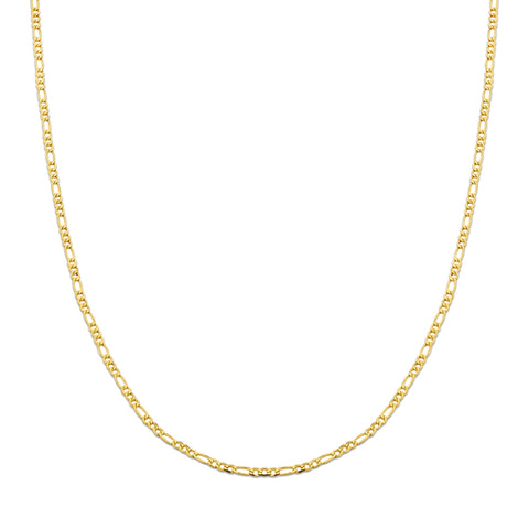 10K Yellow Gold 2mm Solid Figaro Chain Necklace - 20""