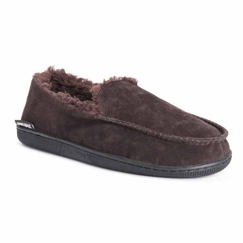 MUK LUKS Men's Faux Suede Moccasin Slippers Brown M (10-11)