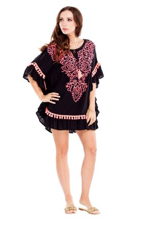 La Moda Embroidered Kaftan Coverup With Tassals Black One Size Fits Most