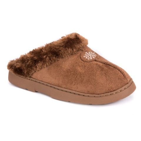 MUK LUKS Women's Clog with Fur Lining Brown L (9-10)
