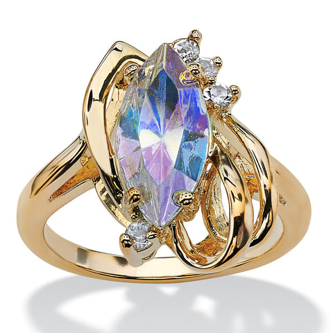 14K Yellow Gold-plated Marquise Cut Aurora Borealis Crystal Ring - 6