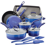Rachael Ray 14pc Hard Enamel Nonstick Cookware Blue Gradient