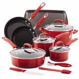 Rachael Ray Hard Enamel Nonstick 14pc Cookware Set Red