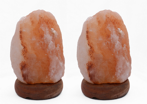 "Manhattan Comfort 8"" Natural Shaped Himalayan Salt Lamp 1.8. Set of 2 with dimmer"